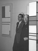 Mondrian with Harry Holtzman, in Holtzman's studio. Photograph by Fritz Glarner, 1940.