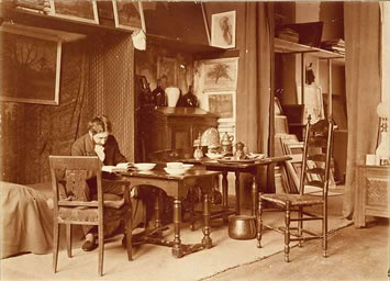 Interior of the sarphatipark no. 42 residence-atelier 1908. Photograph by R. Drektraan, collection of P. Huff.