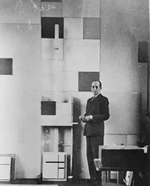 Mondrian in his studio at 26 ave du depart. Photograph by charles karsten. August, 1931