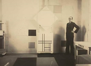 Mondrian in his studio at 26 ave du depart. Photograph by charles karsten. October, 1933