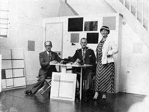 Mondrian in his studio at 278, boulevard raspail. Visited with his youngest brother carel and his wife Mary Mondriaan-Van Den Berg. Photo RKD, '5—Gravenhage. 1936