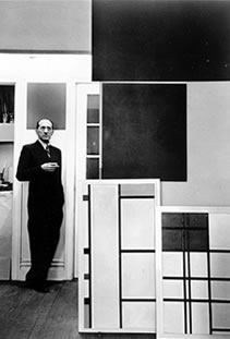 Mondrian in his studio, East 52nd St. 1942 Photo by Arnold Newman