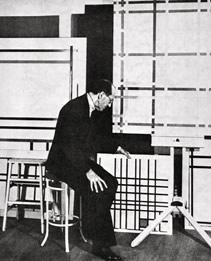 Mondrian in his New York studio at 353 East 52nd Street, Photograph by Emery Muscetra, Commissioned by Sidney Janis October. 1941