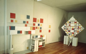 Mondrian's 15 east 59th street studio, after his death. Photograph by Harry Holtzman. 1944